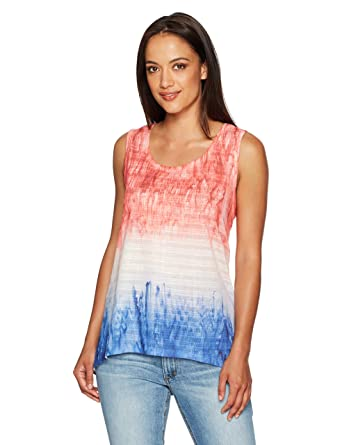 c0d0021237f8be OneWorld Women s Petite Size Sleeveless Textured Knit Tank Top with Split  Lace Back