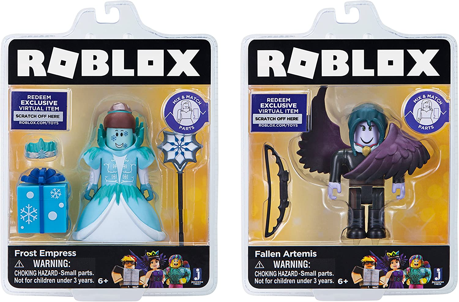 Amazon Com Roblox Celebrity Collection Frost Empress Fallen Artemis Two Figure Bundle Includes 2 Exclusive Virtual Items Toys Games