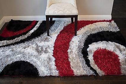 caf9b687cd1 8 x10  Red Black Charcoal Gray Grey Silver 3D Shag Shaggy Area Rug Carpet