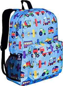 Wildkin Kids 16 Inch Backpack for Boys and Girls, Ideal Size for Kindergarten, Elementary, and Middle School, Perfect for School and Travel, 600 Denier Polyester, Olive Kids(Trains, Planes and Trucks)