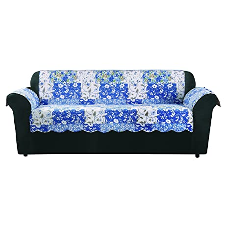 Sure Fit Heirloom Quilted Pet   Sofa Slipcover   Bluebell Floral (SF46469)