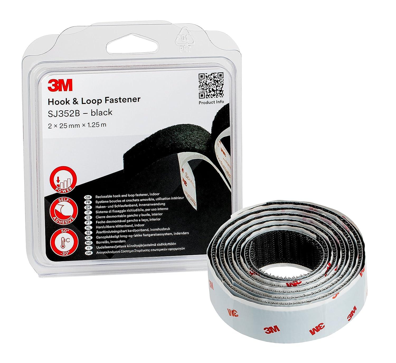 3M SJ352Bbk Haken- und Schlaufenband, 2 x 25 mm x 1.25 m, Schwarz ...