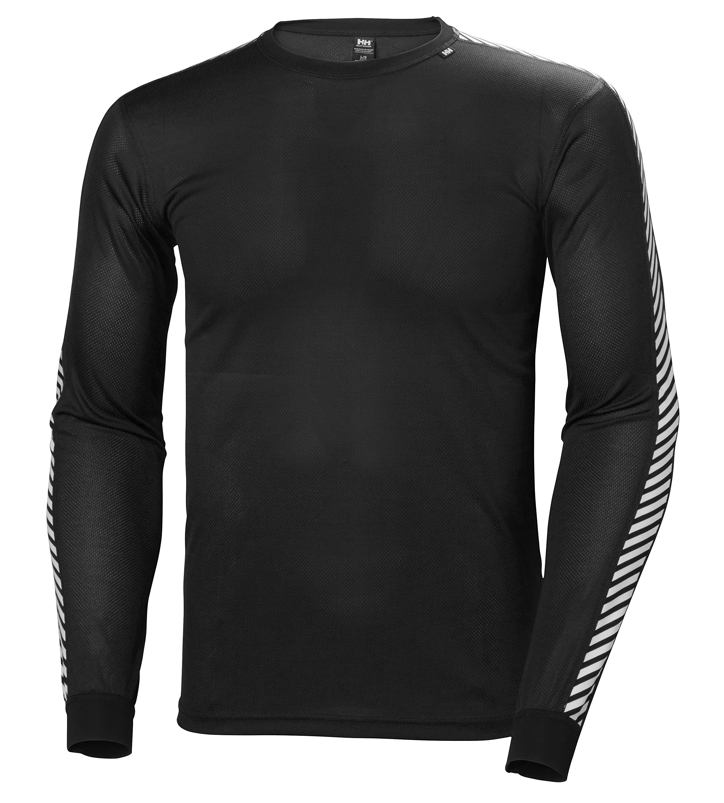 Helly Hansen Men's Lifa Stripe Crew Lightweight Breathable Moisture Wicking Thermal Baselayer, 998 Black, Large