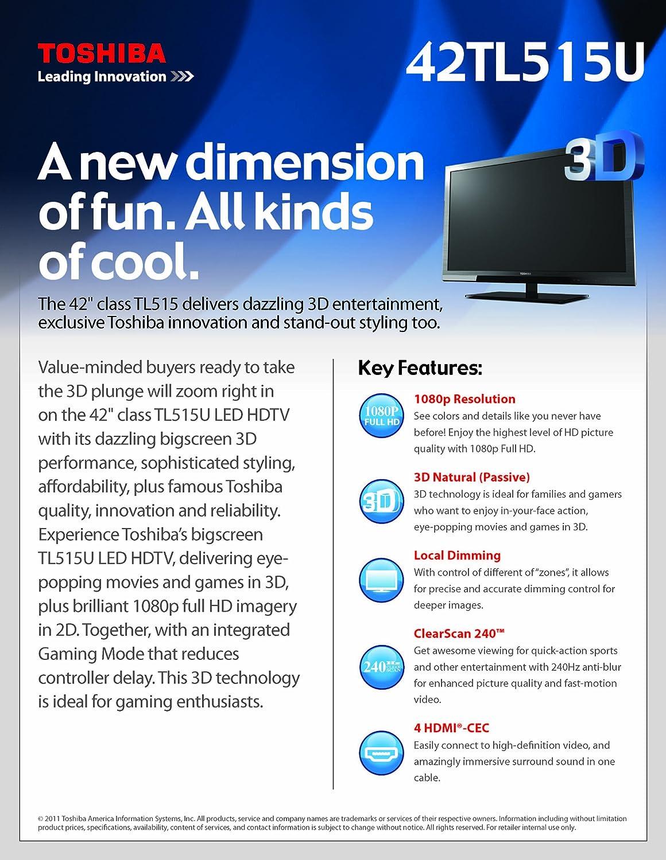 amazon com toshiba 42tl515u 42 inch natural 3d 1080p 240 hz led lcd rh amazon com Toshiba 50L5200U Specs Toshiba 50L2200U