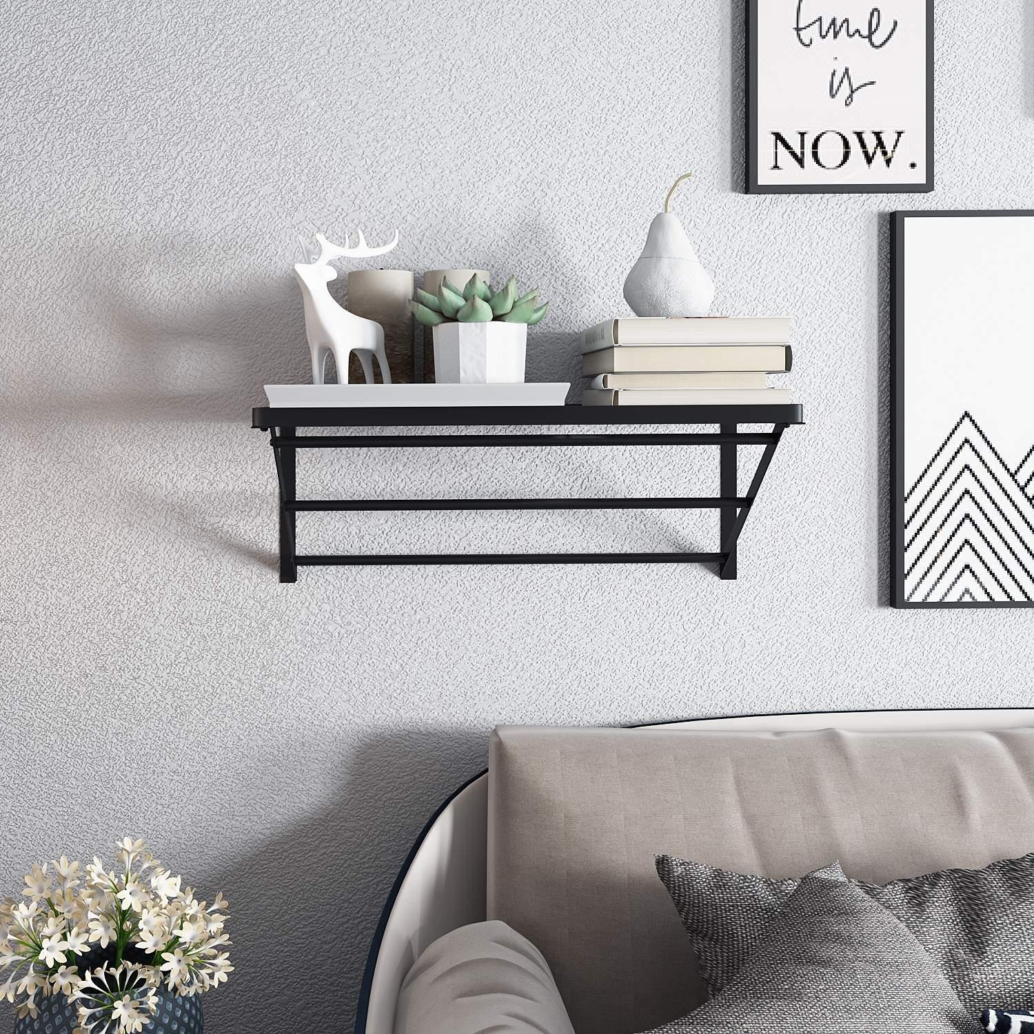 Utheing Kitchen Wall Mount Pot Storage Rack Pans Organizer Hanger with 10 Hook for Kitchen Cookware, Utensils, Pans and Books by Utheing (Image #3)
