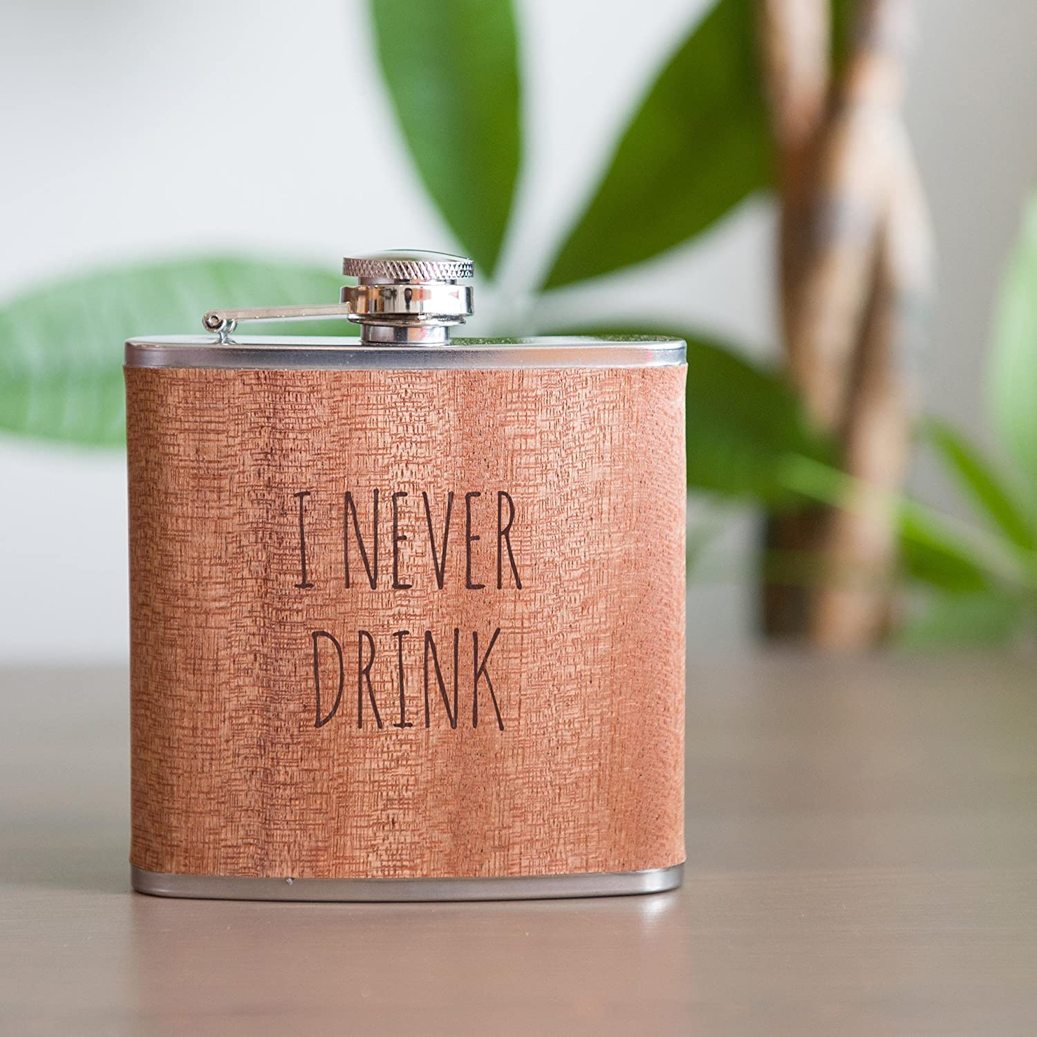 Funny Flasks - Real Wood Flask Gift, Funny Birthday Gift, Drinking Gift, Funny Gift, Bridal Party Gift 6oz Stainless Steel Wooden Free Engraving Wooden Flask
