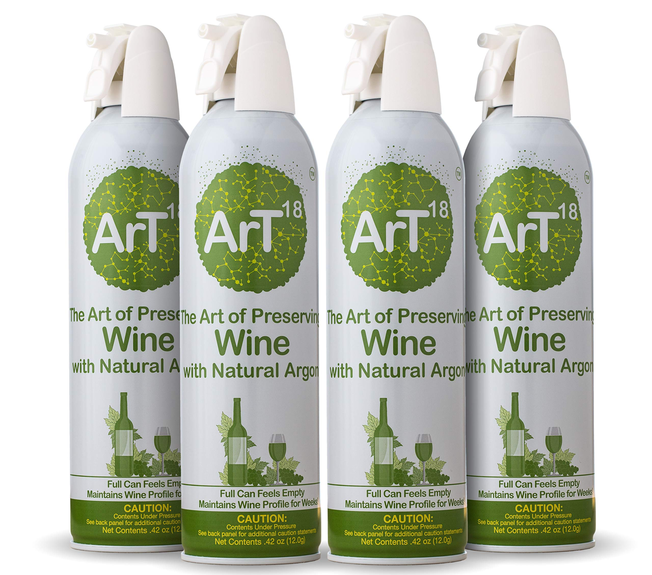 ArT Wine Saver and Bottle Stopper, Pure Argon Spray Can, Use up to 130 Times (4 Pack) by ArT Wine Preserver