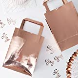 Ginger Ray Rose Gold Foiled Shiny Birthday Party Bags - 5 pack - Pick & Mix