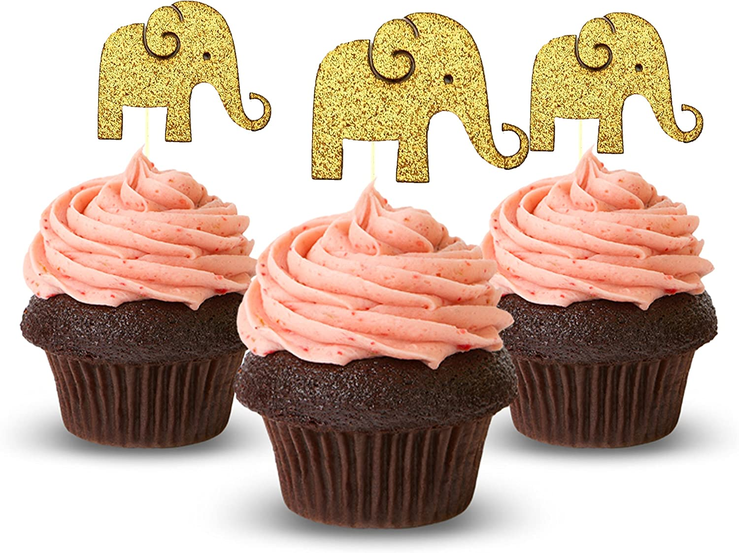 Elephant Cake /& Cupcake Party Supplies Decoration Toppers 12pk Baby Elephant with Pink Bow