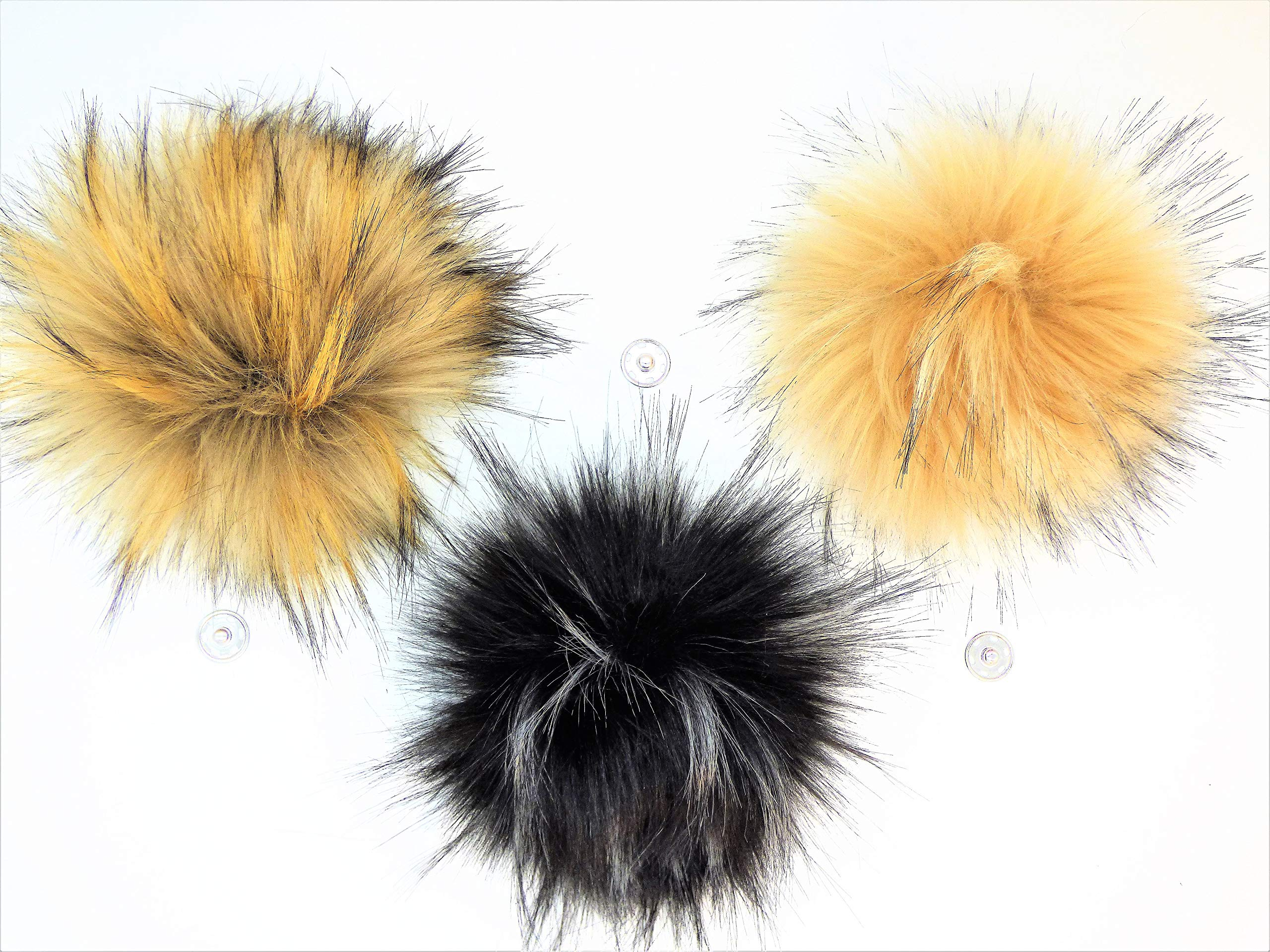 Faux Fur Pom Pom Balls | Extra Large {5-6 INCHES} Set of 3 Removable Pompoms with Snaps for Knitting Accessories | DIY Hats and Crafts | Neutral Assortment by Haven-Sent