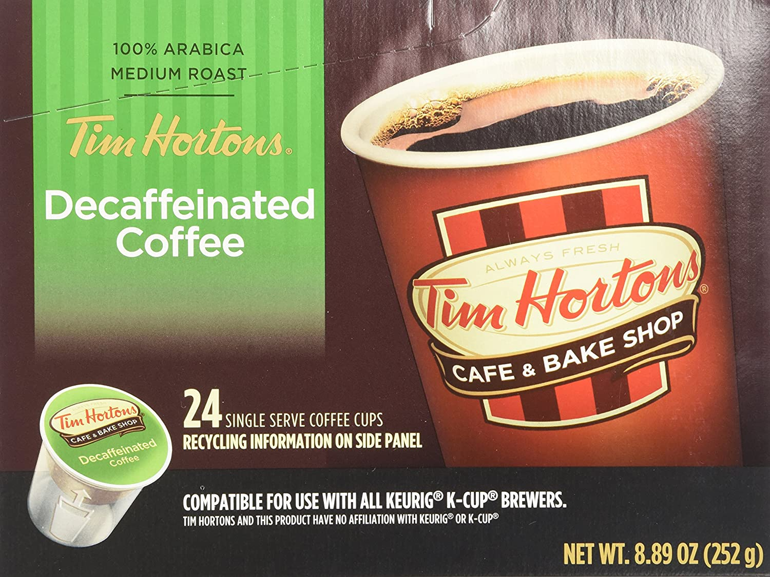 Tim Hortons Decaffeinated Single Serve Coffee Cups, 96 Count (Packaging May Vary)