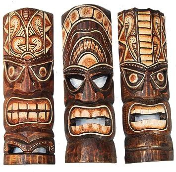2 Tiki Masken 30cm Wandmaske Tiki Maske Hawaii Holzmaske Masken Wandmasken