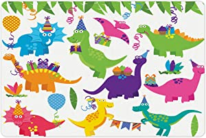 Printawe Dinosaur Party Pet Mat for Food and Water, T-Rex Anniversary Animals Jurassic Reptiles Period Balloons Party, Rectangle Non-Slip Rubber Mat for Dogs and Cats, Multicolor
