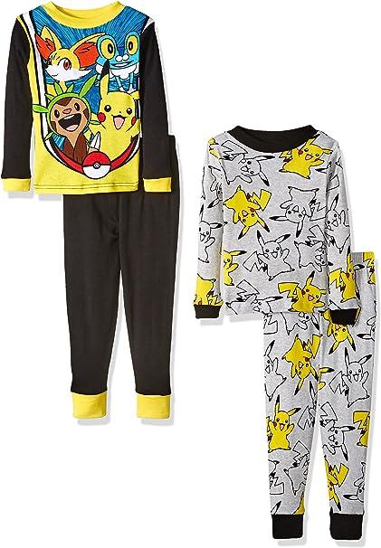 Pokemon Pikachu Pajama Sleep Wear Set for Boys Girls Small 6 ,Red White Black Short Sleeve and Shorts