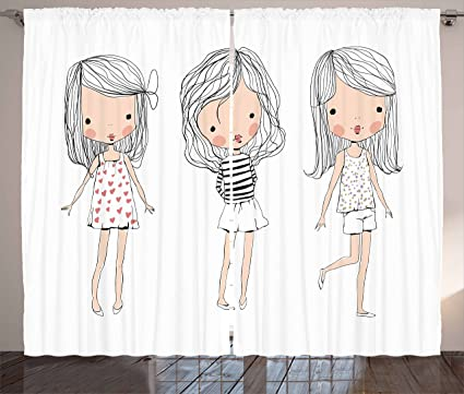 amazon com lunarable cute curtains girls fashion theme three hand