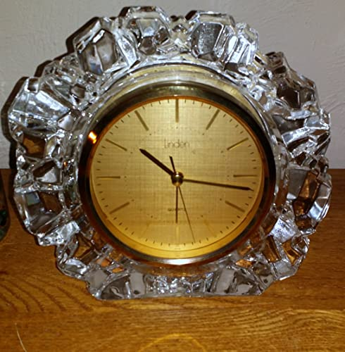 Vintage Beautiful Linden Quartz Mantle Clock Crystal Glass Made in Japan Heavy