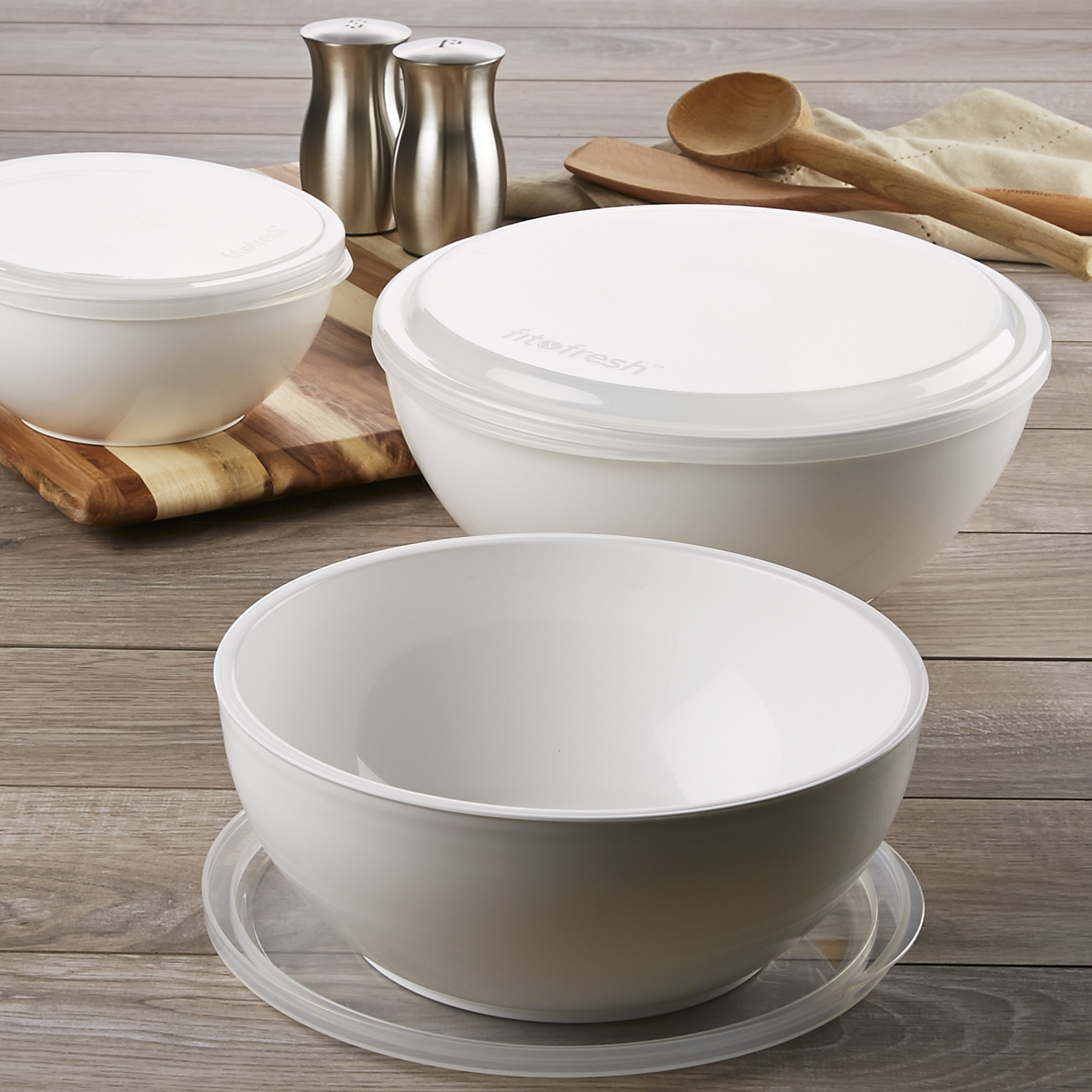 Fit & Fresh Chilled Serving Bowls, Set of 3 Freezable Bowls with Lids (3-Cup, 6.5-Cup, and 10-Cup Capacity), BPA-Free, Perfect for Party, Gathering, Food Storage