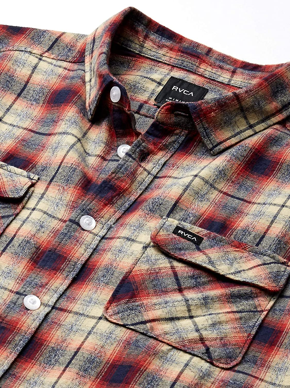 RVCA Mens Hostile Flannel Long Sleeve Woven Button Front Shirt