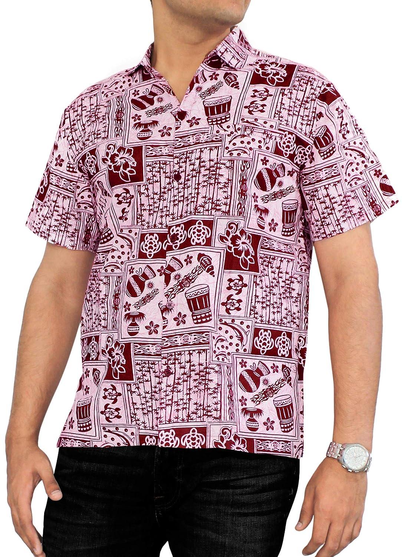 LA LEELA Shirt Casual Button Down Short Sleeve Beach Shirt Men Aloha Pocket 14