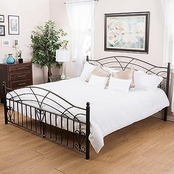 Christopher Knight Home Edsel Bedroom Furniture ~ King Size Black Finish  Iron Bed Frame
