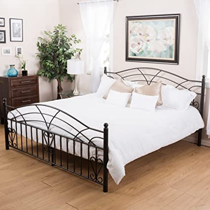 Edsel Bedroom Furniutre ~ King Size Black Finish Iron Bed Frame