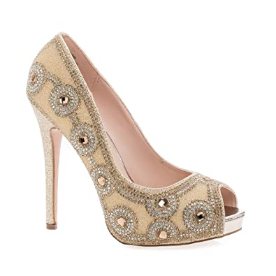 a6265094ee2 Rhinestone Studded Peep Toe Stiletto Heel Dress Pumps
