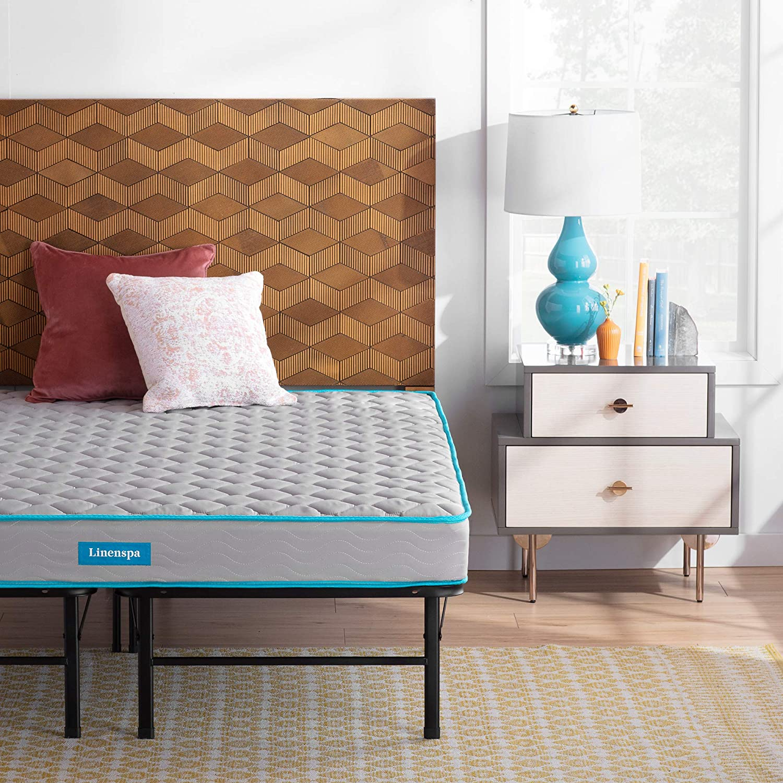 Linenspa 6-Inch Innerspring Mattress - Twin + 14-Inch Folding Platform Bed Frame