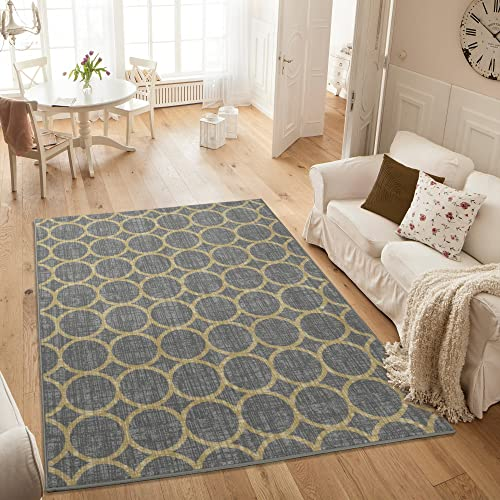 Ottomanson Studio Collection Circles Design Area Rug, 8 2 X 9 10 , Grey