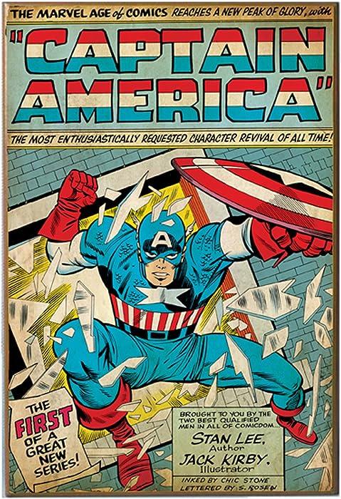 Silver Buffalo MC5736 Captain America New Series Comic Book Cover Wood Wall Art Plaque, 13 x19 inches