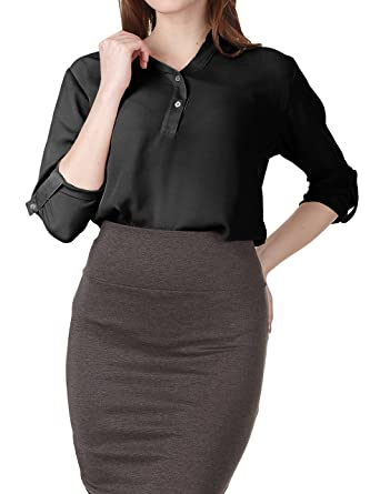 5c35fb20e Regna X Women Loose fit v-Neck Chiffon Roll-Up Sleeve Blouse Shirt Tops