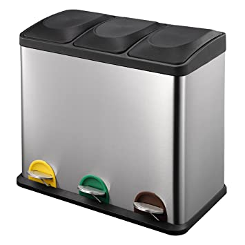 harima triple poubelle recyclage en acier inoxydable 54l poubelle tri slectif avec 3 compartiments - Poubelle Tri Selectif 3 Bacs