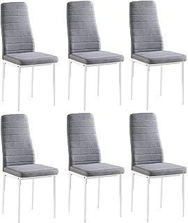 Juego de 6 sillas Yuri, tapizadas con tela gris, patas color blanco, 97