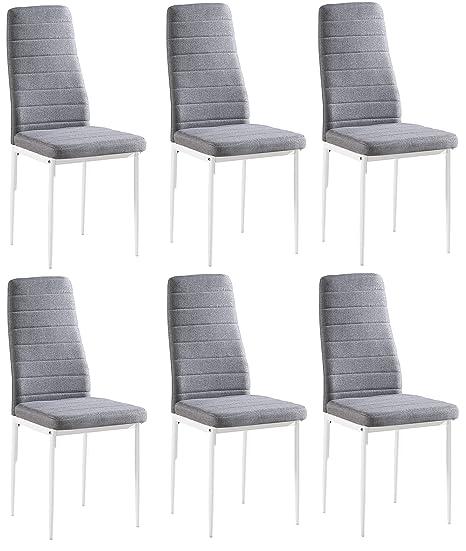 Juego de 6 sillas Yuri, tapizadas con tela gris, patas de color blanco, 97 x 40 x 40 cm