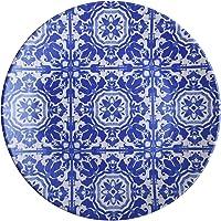 Keramika Servis Tabağı, Mavi/Beyaz, Standart