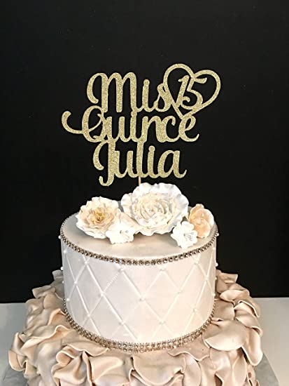 Funlaugh Any Name Glitter Mis Quince Birthday Sweet 15 15Th Quinceneara Topper Cake