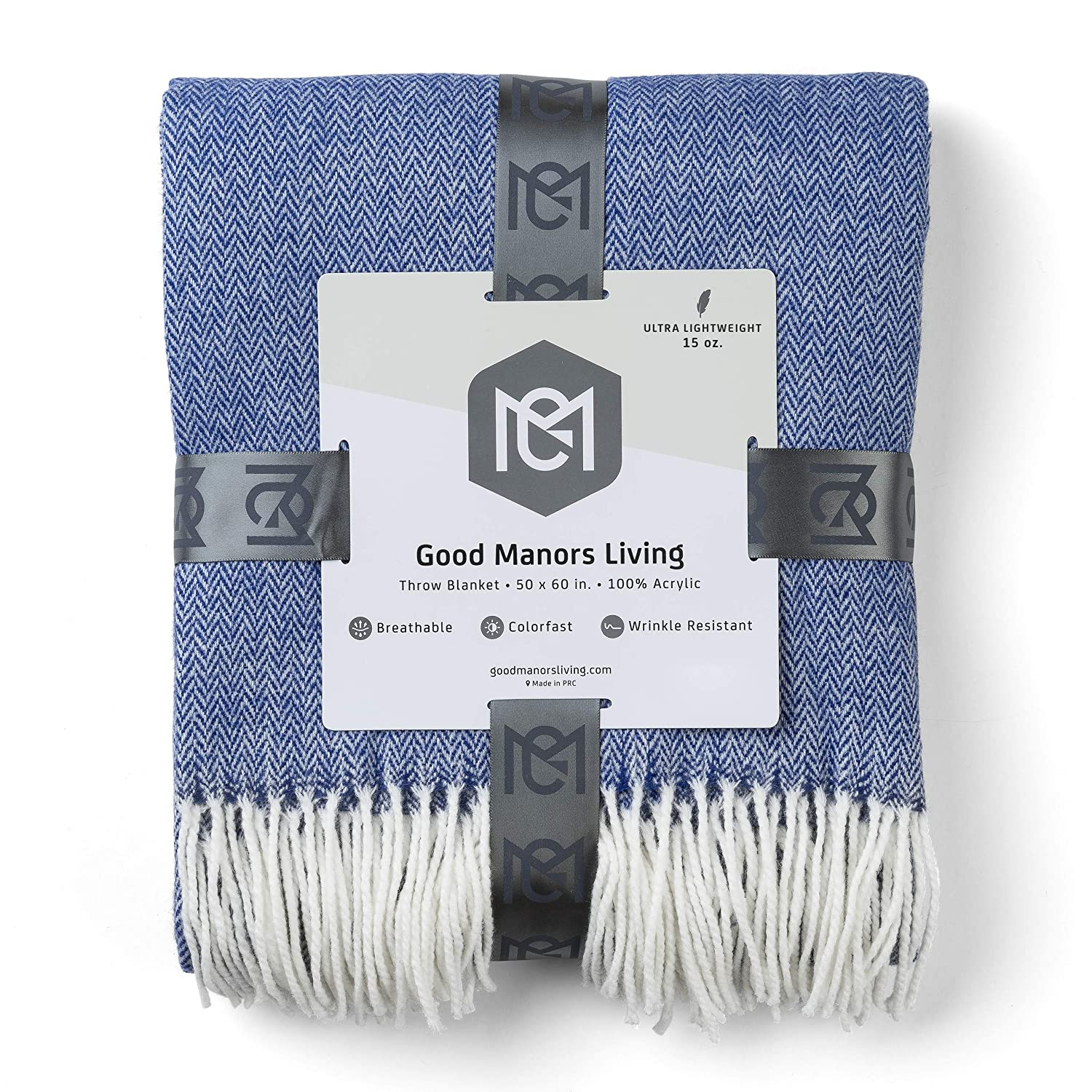 """GOOD MANORS Herringbone Throw Blanket, Modern Farmhouse Decor for Couch, Chair, Ladder, Indoor-Outdoor Everyday Use, Soft Faux Cashmere, Ultra Lightweight, 50"""" x 60"""", Navy Blue and White"""