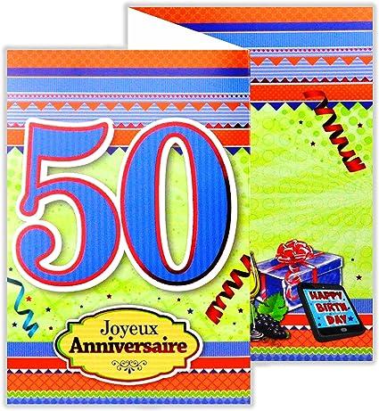 Afie 882135 B Carte 3 Volets Joyeux Anniversaire 50 Ans Amazon Fr Fournitures De Bureau