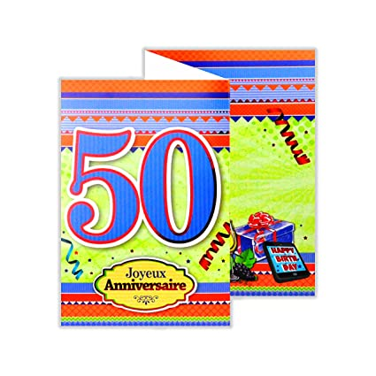 afie 882135 B tarjeta 3 Volets cumpleaños 50 años: Amazon.es ...