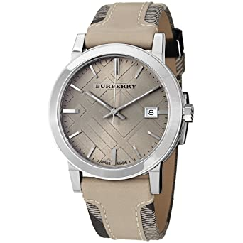 685712926379 Image Unavailable. Image not available for. Color  Burberry BU9021 Women s Large  Check Tan Leather and Canvas Strap Cream Dial Watch