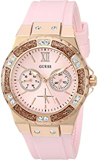 GUESS Womens Stainless Steel Crystal Silicone Watch