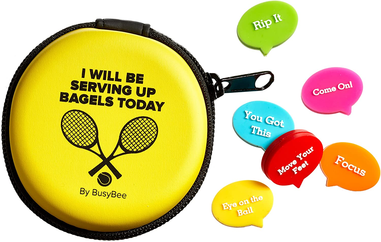 BusyBee Tennis Vibration Dampener in Fun Zipper Gift Pack. Best Shock Absorber (6 Count) Plus a Bonus: Exclusive Mobile App 3 Months Trial : Sports & Outdoors