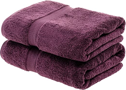 Superior 900GSM PL Juego de Toallas de baño de algodón Egipcio de 900 Gramos, Color Morado, 100% Peinado, Ciruela, 2PC Bath Towel: Amazon.es: Hogar