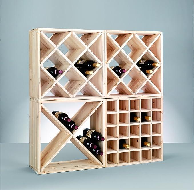 Zeller 13170 Wine Shelf Natural Wood Kreuz 52 x 25 x 52