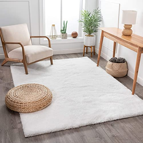 Shimmer Shag Snow White Solid Plain Modern Luster Ultra Thick Soft Plush Area Rug 8 x 10 7'10″ x 9'10″ Contemporary Retro Polyester Textured Two Length 2″ Pile Yarn Easy Clean Stain Fade Resistant