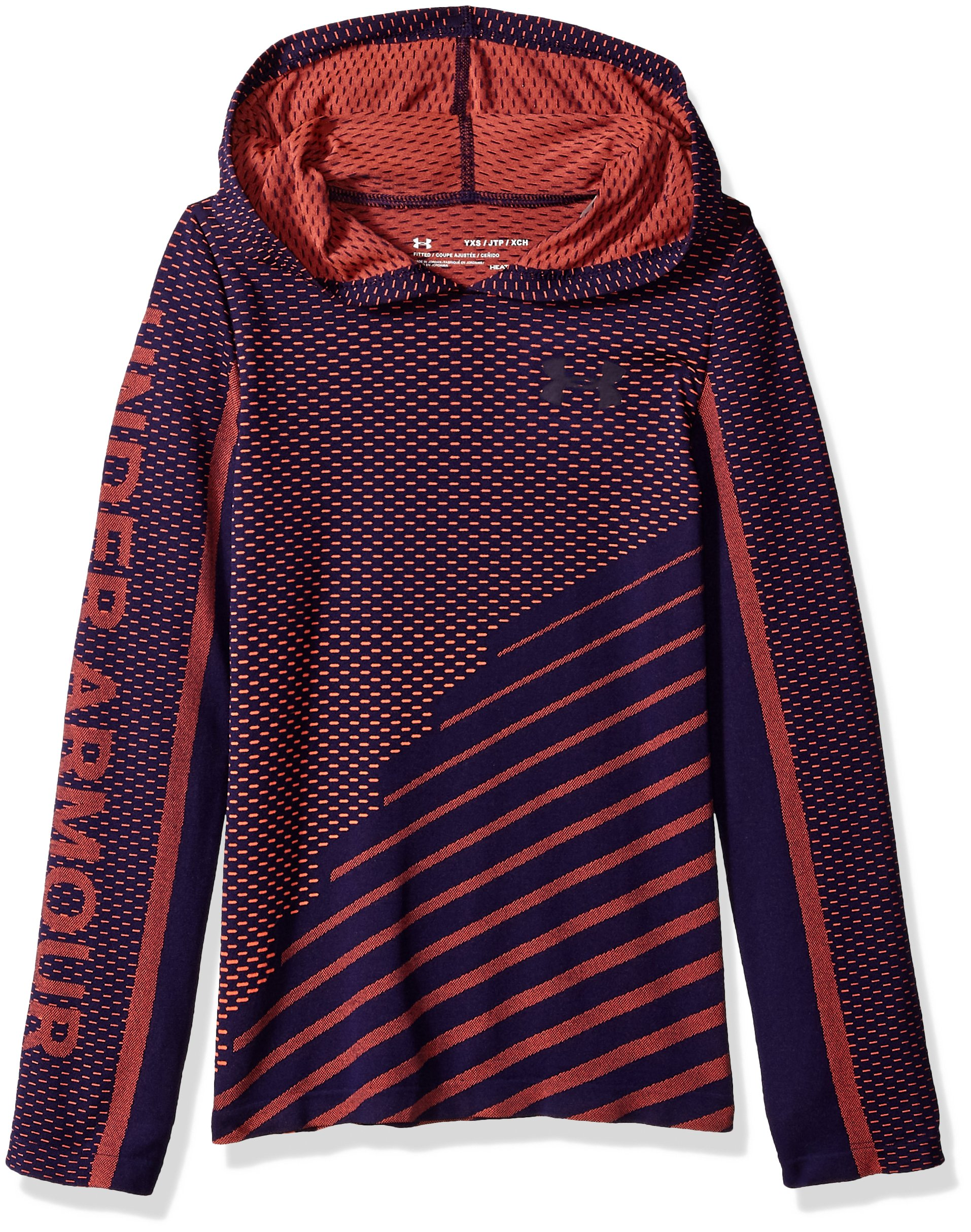 Under Armour Girls Seamless Hoodie, After Burn (877)/Purple Switch, Youth Small by Under Armour