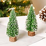 Set of Two Miniature Decorative Christmas Trees with Snow Decoration and Tree Trunk Base, Excellent addition to your decorations, perfect for placing on mantel piece, windowsill, or bedroom! Height 14 x Width 6 cm