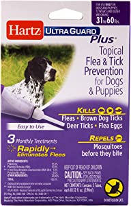 Hartz UltraGuard Plus Topical Flea & Tick Prevention for Dogs and Puppies - 31-60 lbs, 3 Monthly Treatments