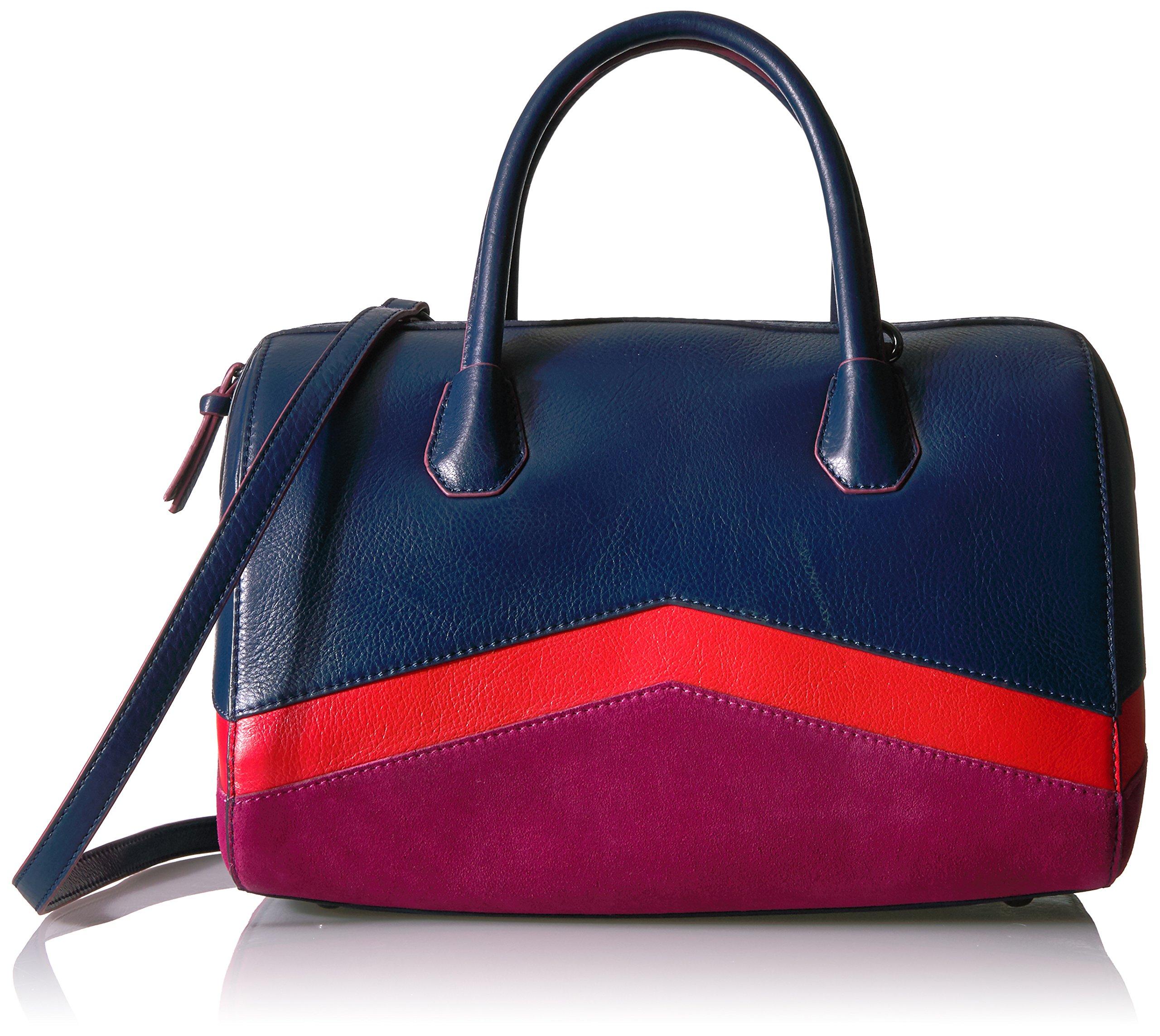 The Fix Bailee Color Block Top Handle Satchel Bag, Navy