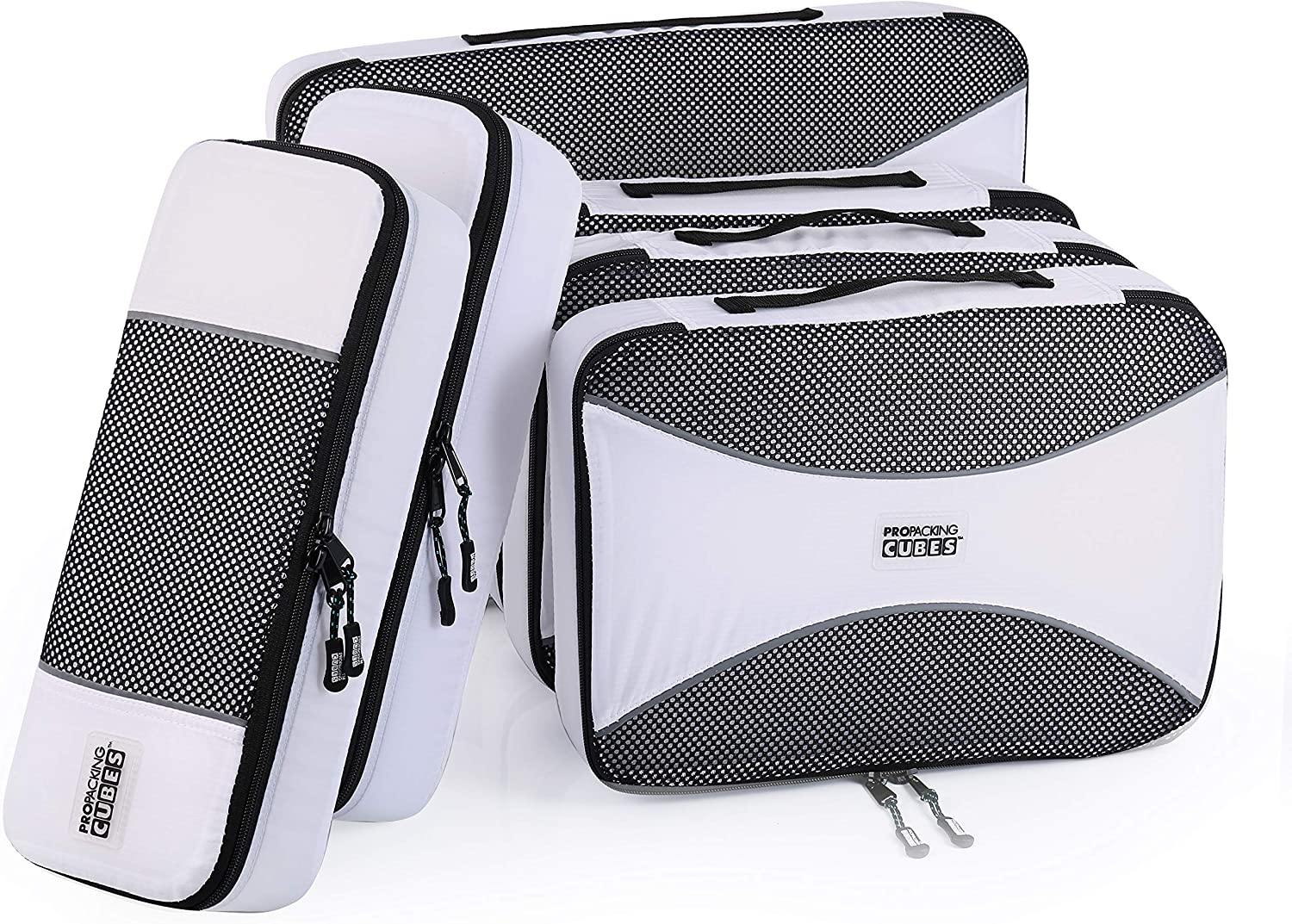 PRO Packing Cubes | Travel Bags Organizer for Luggage | Multi-size Ultralight Travel Cubes | Suitcase Organizer Bags Set 6 Piece | Makes Packing Easy - White