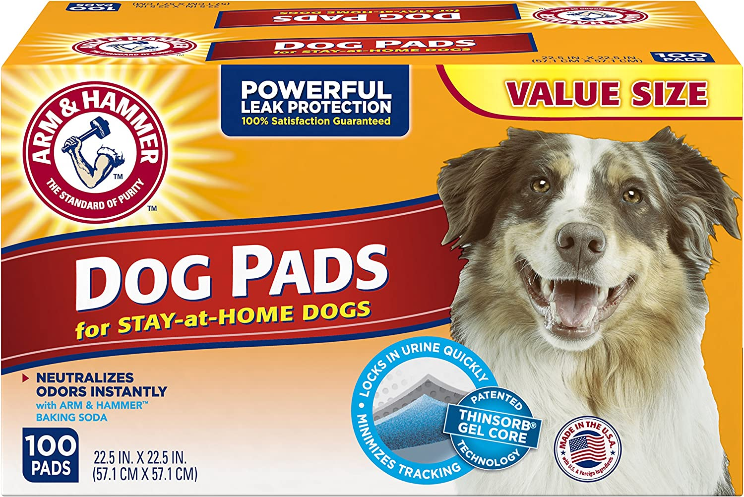 "Arm & Hammer 100 Count Puppy Training Pads with Baking Soda, Large/22.5"" x 22.5"""